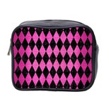 DIAMOND1 BLACK MARBLE & PINK BRUSHED METAL Mini Toiletries Bag 2-Side