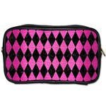 DIAMOND1 BLACK MARBLE & PINK BRUSHED METAL Toiletries Bags 2-Side