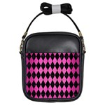 DIAMOND1 BLACK MARBLE & PINK BRUSHED METAL Girls Sling Bags