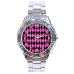 DIAMOND1 BLACK MARBLE & PINK BRUSHED METAL Stainless Steel Analogue Watch