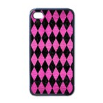 DIAMOND1 BLACK MARBLE & PINK BRUSHED METAL Apple iPhone 4 Case (Black)
