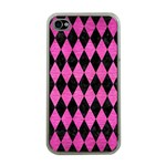 DIAMOND1 BLACK MARBLE & PINK BRUSHED METAL Apple iPhone 4 Case (Clear)