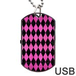DIAMOND1 BLACK MARBLE & PINK BRUSHED METAL Dog Tag USB Flash (One Side)