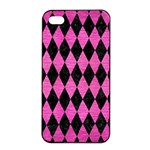 DIAMOND1 BLACK MARBLE & PINK BRUSHED METAL Apple iPhone 4/4s Seamless Case (Black)