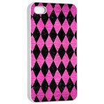 DIAMOND1 BLACK MARBLE & PINK BRUSHED METAL Apple iPhone 4/4s Seamless Case (White)