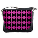 DIAMOND1 BLACK MARBLE & PINK BRUSHED METAL Messenger Bags