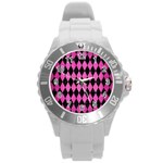 DIAMOND1 BLACK MARBLE & PINK BRUSHED METAL Round Plastic Sport Watch (L)