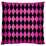DIAMOND1 BLACK MARBLE & PINK BRUSHED METAL Large Cushion Case (One Side)