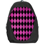DIAMOND1 BLACK MARBLE & PINK BRUSHED METAL Backpack Bag