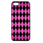 DIAMOND1 BLACK MARBLE & PINK BRUSHED METAL Apple iPhone 5 Seamless Case (Black)