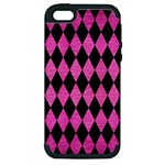 DIAMOND1 BLACK MARBLE & PINK BRUSHED METAL Apple iPhone 5 Hardshell Case (PC+Silicone)