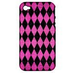 DIAMOND1 BLACK MARBLE & PINK BRUSHED METAL Apple iPhone 4/4S Hardshell Case (PC+Silicone)