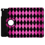 DIAMOND1 BLACK MARBLE & PINK BRUSHED METAL Apple iPad Mini Flip 360 Case