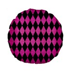 DIAMOND1 BLACK MARBLE & PINK BRUSHED METAL Standard 15  Premium Round Cushions