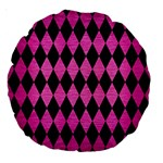 DIAMOND1 BLACK MARBLE & PINK BRUSHED METAL Large 18  Premium Round Cushions