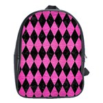 DIAMOND1 BLACK MARBLE & PINK BRUSHED METAL School Bag (XL)
