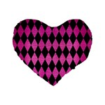 DIAMOND1 BLACK MARBLE & PINK BRUSHED METAL Standard 16  Premium Heart Shape Cushions