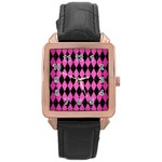 DIAMOND1 BLACK MARBLE & PINK BRUSHED METAL Rose Gold Leather Watch