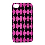 DIAMOND1 BLACK MARBLE & PINK BRUSHED METAL Apple iPhone 4/4S Hardshell Case with Stand