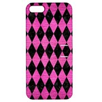 DIAMOND1 BLACK MARBLE & PINK BRUSHED METAL Apple iPhone 5 Hardshell Case with Stand