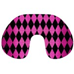 DIAMOND1 BLACK MARBLE & PINK BRUSHED METAL Travel Neck Pillows