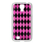 DIAMOND1 BLACK MARBLE & PINK BRUSHED METAL Samsung GALAXY S4 I9500/ I9505 Case (White)