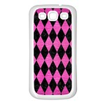 DIAMOND1 BLACK MARBLE & PINK BRUSHED METAL Samsung Galaxy S3 Back Case (White)