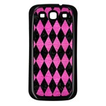 DIAMOND1 BLACK MARBLE & PINK BRUSHED METAL Samsung Galaxy S3 Back Case (Black)