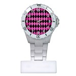 DIAMOND1 BLACK MARBLE & PINK BRUSHED METAL Plastic Nurses Watch