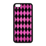 DIAMOND1 BLACK MARBLE & PINK BRUSHED METAL Apple iPhone 5C Seamless Case (Black)