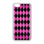 DIAMOND1 BLACK MARBLE & PINK BRUSHED METAL Apple iPhone 5C Seamless Case (White)