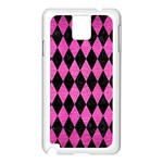 DIAMOND1 BLACK MARBLE & PINK BRUSHED METAL Samsung Galaxy Note 3 N9005 Case (White)