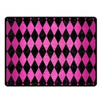 DIAMOND1 BLACK MARBLE & PINK BRUSHED METAL Double Sided Fleece Blanket (Small)