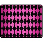 DIAMOND1 BLACK MARBLE & PINK BRUSHED METAL Double Sided Fleece Blanket (Medium)