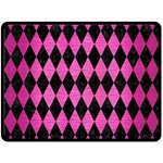 DIAMOND1 BLACK MARBLE & PINK BRUSHED METAL Double Sided Fleece Blanket (Large)