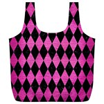 DIAMOND1 BLACK MARBLE & PINK BRUSHED METAL Full Print Recycle Bags (L)
