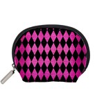 DIAMOND1 BLACK MARBLE & PINK BRUSHED METAL Accessory Pouches (Small)