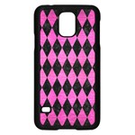 DIAMOND1 BLACK MARBLE & PINK BRUSHED METAL Samsung Galaxy S5 Case (Black)