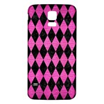 DIAMOND1 BLACK MARBLE & PINK BRUSHED METAL Samsung Galaxy S5 Back Case (White)