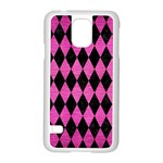 DIAMOND1 BLACK MARBLE & PINK BRUSHED METAL Samsung Galaxy S5 Case (White)