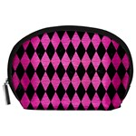 DIAMOND1 BLACK MARBLE & PINK BRUSHED METAL Accessory Pouches (Large)
