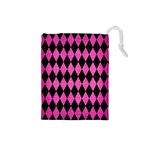 DIAMOND1 BLACK MARBLE & PINK BRUSHED METAL Drawstring Pouches (Small)