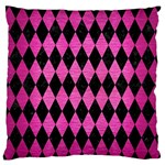 DIAMOND1 BLACK MARBLE & PINK BRUSHED METAL Large Flano Cushion Case (Two Sides)