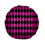 DIAMOND1 BLACK MARBLE & PINK BRUSHED METAL Standard 15  Premium Flano Round Cushions
