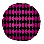 DIAMOND1 BLACK MARBLE & PINK BRUSHED METAL Large 18  Premium Flano Round Cushions