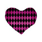 DIAMOND1 BLACK MARBLE & PINK BRUSHED METAL Standard 16  Premium Flano Heart Shape Cushions