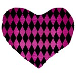 DIAMOND1 BLACK MARBLE & PINK BRUSHED METAL Large 19  Premium Flano Heart Shape Cushions