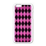 DIAMOND1 BLACK MARBLE & PINK BRUSHED METAL Apple iPhone 6/6S White Enamel Case