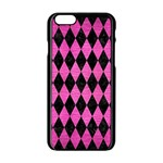 DIAMOND1 BLACK MARBLE & PINK BRUSHED METAL Apple iPhone 6/6S Black Enamel Case