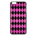 DIAMOND1 BLACK MARBLE & PINK BRUSHED METAL Apple iPhone 6 Plus/6S Plus Black Enamel Case